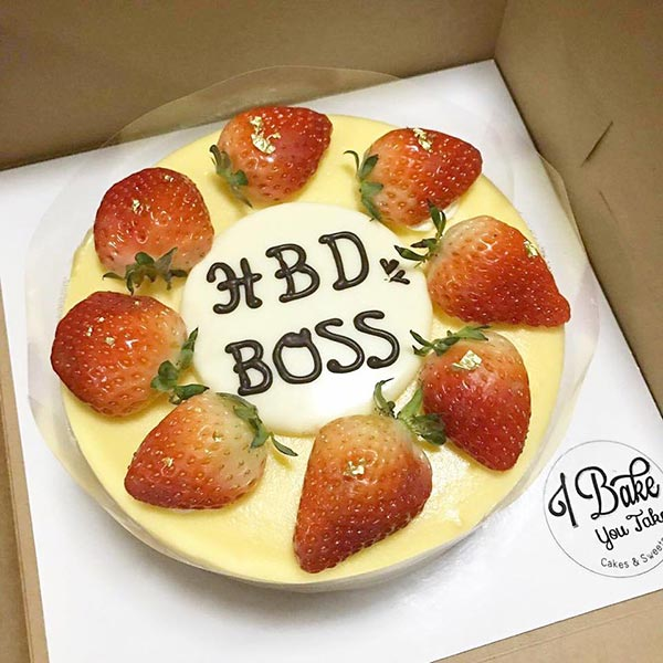 สั่งเค้กวันเกิด ชีสเค้กแต่งด้วย strawberry